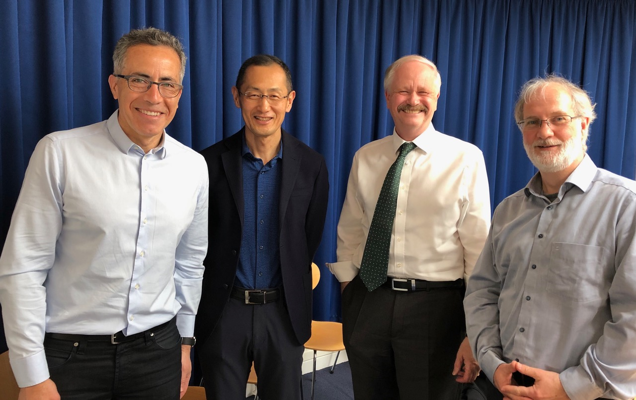Shinya Yamanaka, Nobel Prize winner for his work on induced pluripotent stem cells with OxVax founders Marcelo Bravo, Paul Fairchild , and Tim Davies
